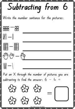 Subtraction from 10 Worksheets: QLD Beginners Font