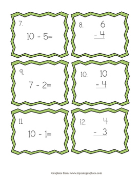Subtraction from 10 task cards