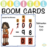 Subtraction from 100 - Boom Cards™ Distance Learning