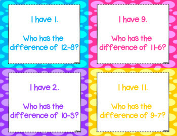 Subtraction from 12 - I Have, Who Has? Game
