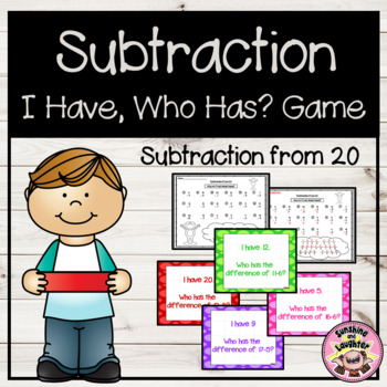 Subtraction from 20 - I Have, Who Has? Game