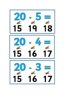 Subtraction from 20 peg activity flashcards