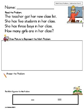 Subtraction from 5 Math Word Problem Set * Back to School* Read,Draw & Answer It