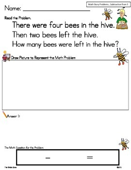Subtraction from 5 Math Word Problem Set *Insects* Read,Draw,Answer It!
