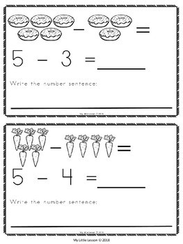 Subtraction from 5: Mini Book, Worksheets