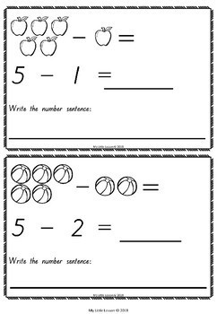 Subtraction from 5 QLD Beginners Font: Mini Book, Worksheets