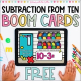 Subtraction from Ten BOOM Cards | Digital Task Cards for D