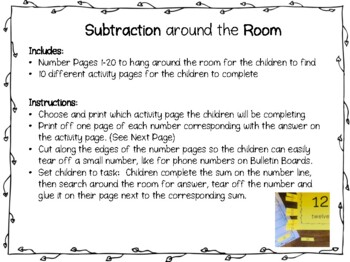 """Search the Room"" Subtraction up to 20 on a Number Line"