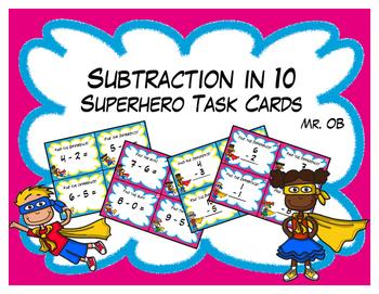 Super Hero Subtraction in 10 Task Cards