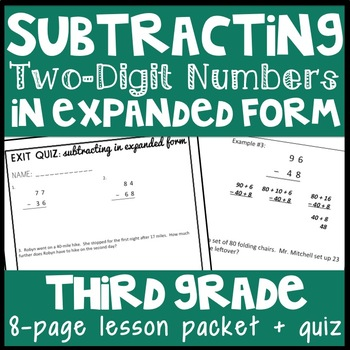 Two Digit Subtraction Expanded Form Teaching Resources Teachers