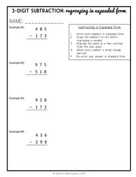 Subtraction in Expanded Form, 3-Digit Subtraction w Regrouping, Practice Packet