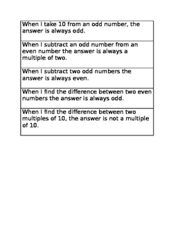 Subtraction investigation statements year 2