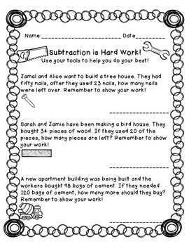 Subtraction is Hard Work! Worksheets for 2nd and 3rd graders