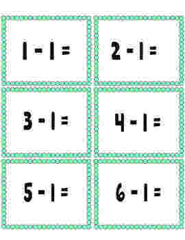 Subtraction math facts cards to 20