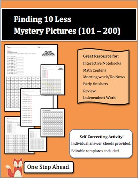 Finding 10 Less - Mystery Pictures (101-200 chart)