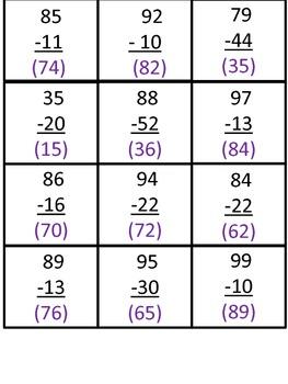Subtraction of 2-digit Numbers BINGO!