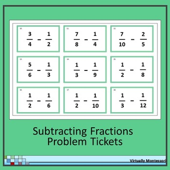 Subtracting Fractions Problem Tickets
