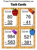 Subtraction of Multi-Digit Whole Numbers Within 1000 Task Cards