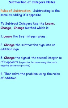 Subtraction of Integers Notes and Assignments on Smartboard