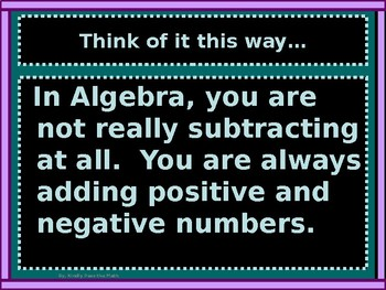 Power-Point:  Subtraction of Real Numbers