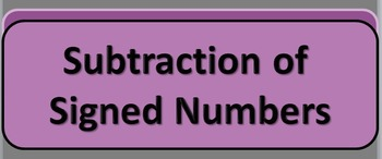 Subtraction of Signed Numbers PowerPoint Flashcards