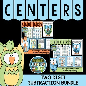 Subtraction of Two Digit Numbers Math Center Games Bundle