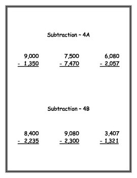 Subtraction of Whole Numbers - Leveled Practice - Fluency - through Millions