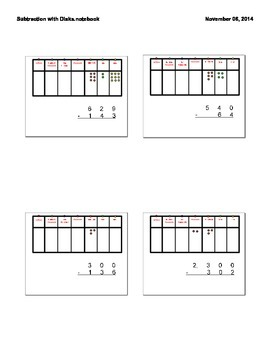 Subtraction of Whole Numbers with Place Value Disks