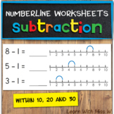 Subtraction on a numberline worksheets