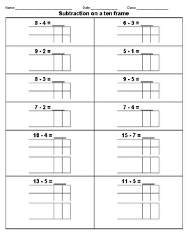 Subtraction on a ten frame
