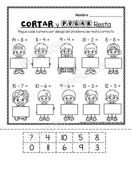 Subtraction Printables and Games in Spanish-1st grade