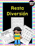 Subtraction Printables and Games in Spanish-kindergarten