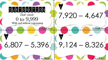 Subtraction task cards - 0 to 9,999 with and without regrouping