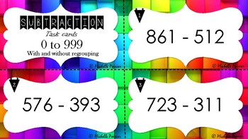 Subtraction task cards - 0 to 999 with and without regrouping