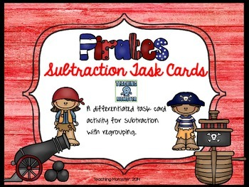 Subtraction task cards--Pirate themed