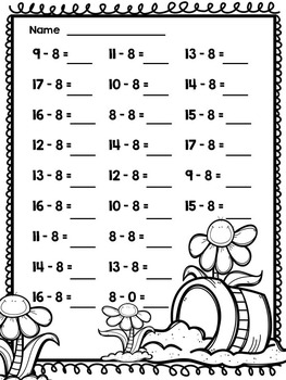 Subtraction through 20 Sprints for Math Fluency {{SPRING}}
