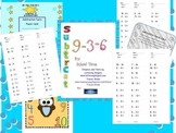 Subtraction timed tests with completion certificate and punch card