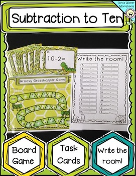 Subtraction to 10 Board Game, Task Cards, Write the Room (