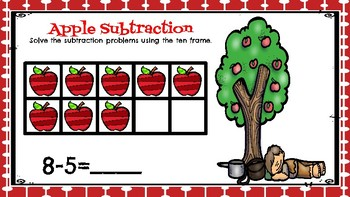 Subtraction to 10(Apple Theme)-A Digital Math Center-Compatible with Google Apps