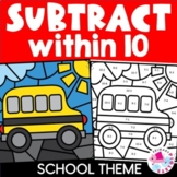 Subtraction to 10 Color by Number Back to School Theme