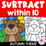 Subtraction to 10 Color by Number Fall | Subtraction Withi