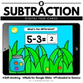 Subtraction to 10 Distance Learning Literacy and Math Task Cards