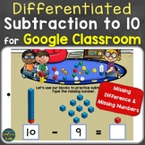 Subtraction to 10 Distance Learning for Google Classroom,