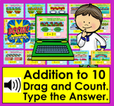 Boom Cards Math Addition to 10: Drag, Count & Type Sum w/Sound Distance Learning
