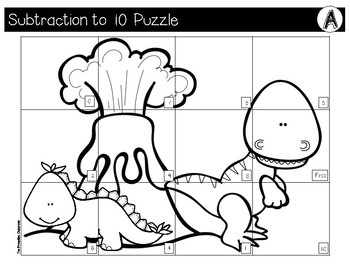 Subtraction to 10 File Folder Puzzles Dinosaur Theme