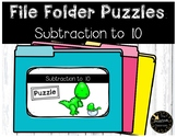 Subtraction Game to 10 File Folder Puzzles Dinosaur Theme