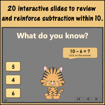 Interactive Math Game Subtraction within 10 {Dancing Tiger}