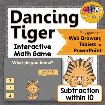 Subtraction within 10 Interactive Math Game {Dancing Tiger}