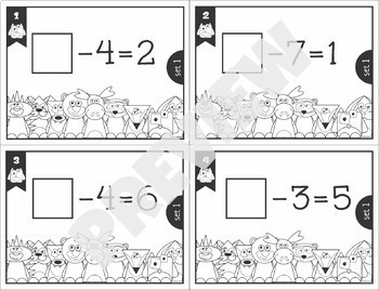 Subtraction to 10 Missing Addends Task Cards SCOOT BUNDLE