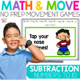 Subtraction to 10 Movement Game for Google (TM) and PowerP